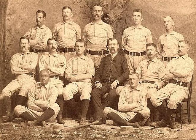 1888 Syracuse Stars. Moses Fleetwood Walker is at the top left, Robert Higgins at bottom left. Bones Ely is top row, second from right.
