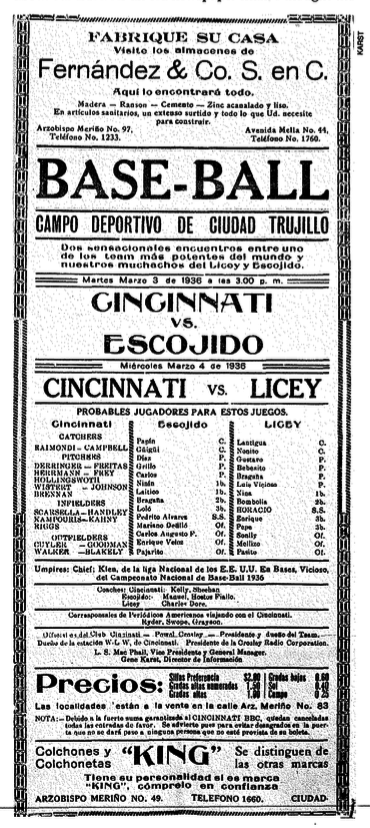 Advertisement for the Cincinnati Reds' 1936 exhibition games in the Dominican Republic (AUTHOR'S COLLECTION)