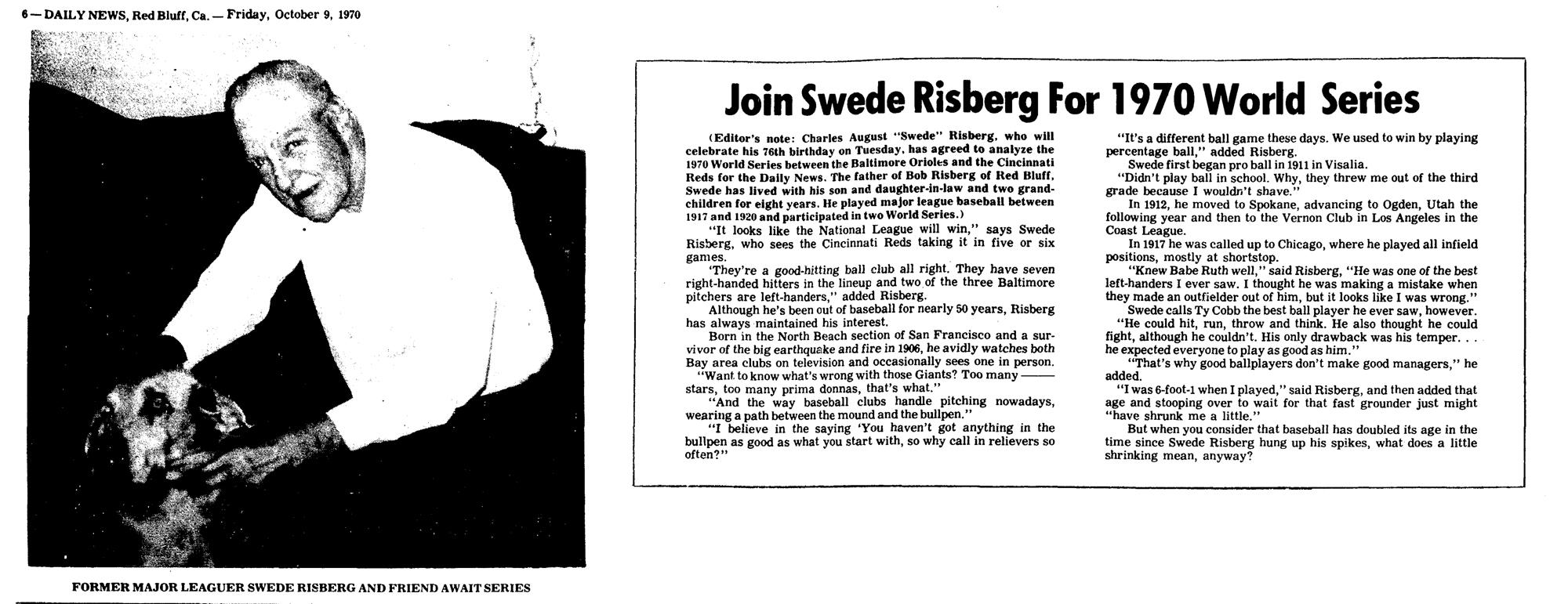 Swede Risberg, 1970
