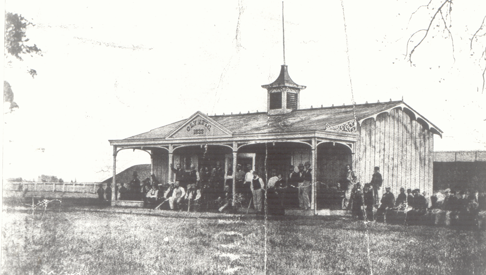Near the 24th and Masters intersection, circa 1865–1866. Behind the clubhouse is the reservoir.