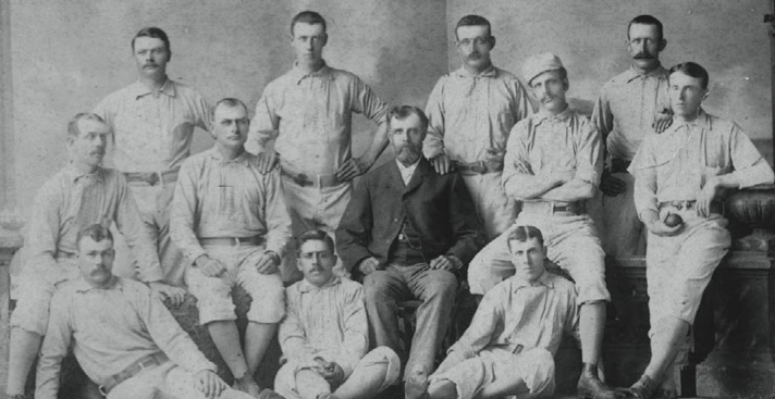 Back: Paul Hines, Jerry Denny, Hoss Radbourn, Jack Farrell. Middle: Tom York, Joe Start, Harry Wright, George Wright, John Ward. Front: Charlie Reilley, Sandy Nava, Barney Gilligan.