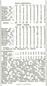 Box score from July 4, 1911 game between Giants-Phillies