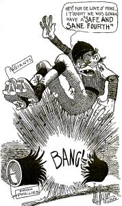 Cartoon from Philadelphia Inquirer account of July 4, 1911 game between Giants-Phillies