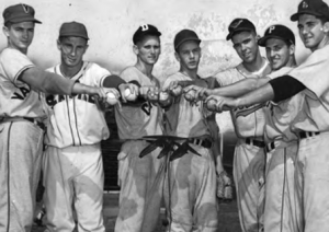 1956 U.S. All-Star pitchers: L-R, Larry Foster, Gary Moore, Tom Prucha, Joe Horlen, Mel Dotterweich, Vince Magrino, and Mike McCormick.