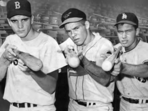 1962 U.S. All-Star outfielders: L-R, Tony Conigliaro, Ron Swoboda, and James Huenemeier.