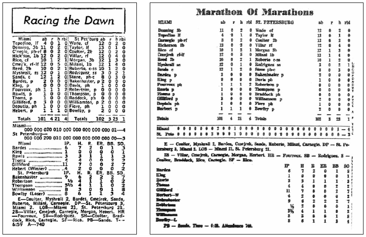 Some discrepancies stand between the two published versions in The Sporting News (left) and The St. Petersburg Independent (right).