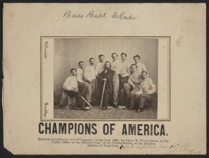"""1865 Brooklyn Atlantics: This 1865 photograph of the Atlantics of Brooklyn by Charles H. Williamson depicts the """"Champion Nine"""" of 1864 and was given to opposing teams who played The Atlantic Club."""