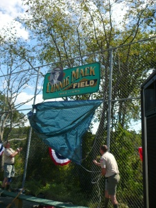 Unveiling the sign for Connie Mack Field in East Brookfield, Massachusetts.