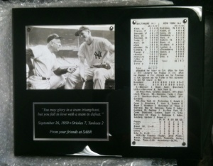 SABR's gift to Bob Costas was a plaque commemorating the first MLB game he ever attended, in 1959 at Yankee Stadium.