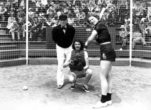"A young Rita Hayworth: serves as catcher, in ""Girls Can Play"" (1937), for a women's softball team run by a crook who eventually poisons her with bad liquor."