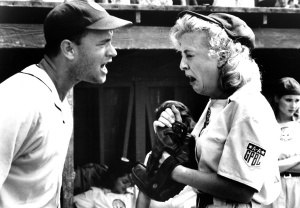 """There's no crying in baseball!"": Manager Jimmy Dugan's (Tom Hanks) line was an iconic moment in 1992's ""A League of Their Own""."