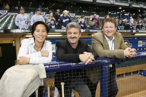 Kim Ng: shown with Ned Colletti and Logan White, would like to see more women and minorities enter baseball's ranks.