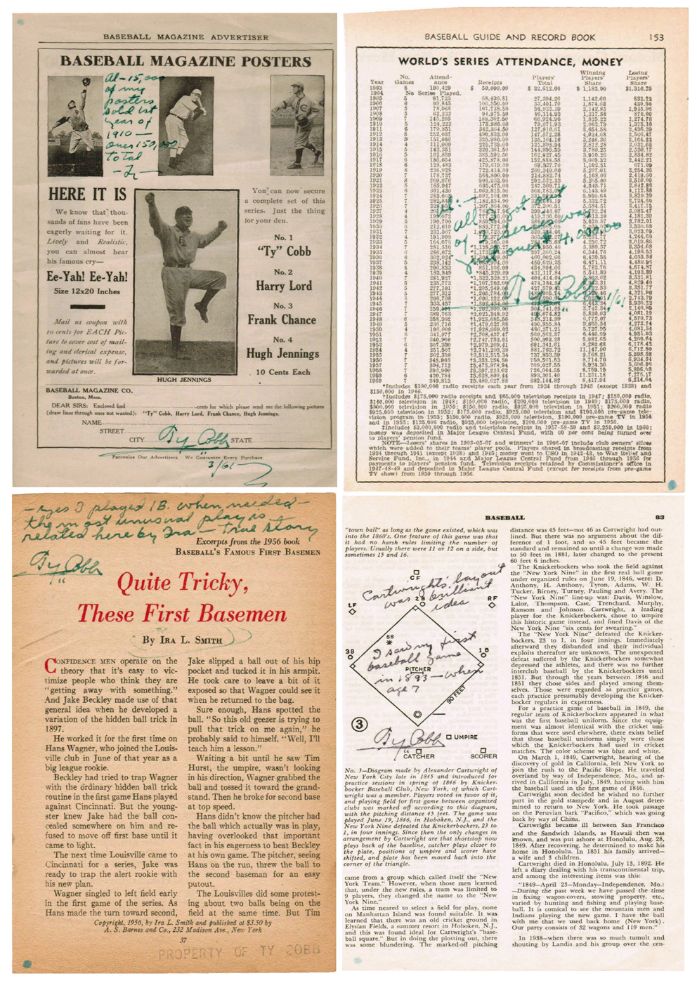 Four examples of the dozens of baseball-related pages from publications onto which Al Stump forged Ty Cobb's autograph and comments attributed to Ty Cobb. These four were again offered at auction in May 2009 but withdrawn when experts notified the auction service that they were forgeries.