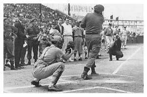 Fidel Castro: notches the ceremonial first base hit of the inaugural Cuban National Series season on January 14, 1962 at Cerro Stadium in Cuba.