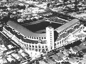 Wrigley Field: A 150-foot office tower housed 13-foot clocks on its four sides that could be seen from all parts of the city, making the ballpark the iconic symbol of baseball in Los Angeles for more than 35 years.