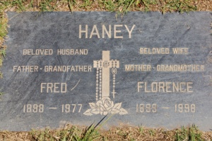 Fred and Florence Haney grave marker