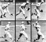 Photo sequence shows how the one-armed outfielder went about fielding grounders.