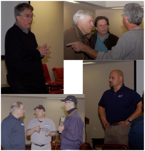 Rogers Hornsby Chapter meeting: Clockwise from upper-left: Branch B. Rickey, Norman Macht, John Moore, Jim Kreuz, Frank Coffland, Cy Morong, Jan Larson, Monte Cely