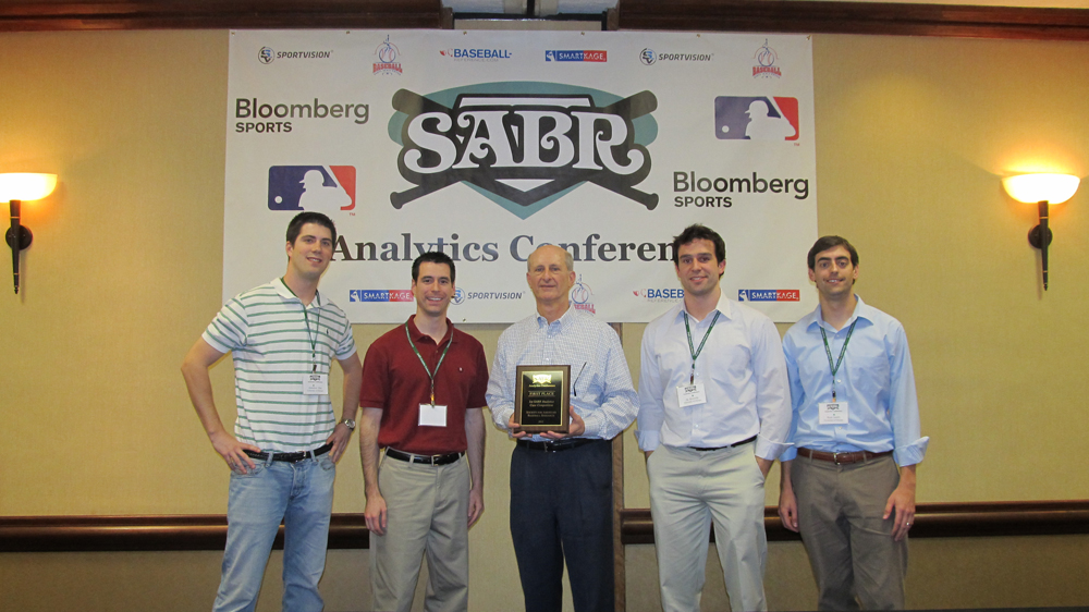 From left: Jonathan Hay, Brad Rodriguez, SABR president Vince Gennaro, A.J. Kennedy, Ryan Lamb