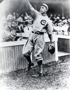 Johnny Kling: Shown in 1910, when he returned to the Cubs after holding out for a full season. An inconsistent but often excellent hitter, Kling was prized for his acumen, grit, and knowledge of pitchers.