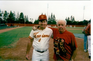 Bob Leach and Rod Dedeaux: at the 1996 USC Alumni Game.