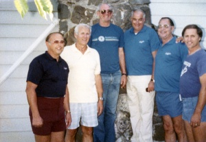 Dodgers scouts in 1986: (Left to right) Bobby Miske, Dick Teed, Buzz Bowers, Steve Lembo, Gil Bassetti and Bill Fesh.