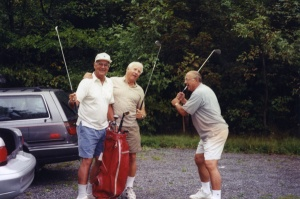 Golfing buddies: Left to right: the late Gil Bassetti, Dick Teed, Bobby Miske. Miske was inducted into the Scouts Hall of Fame, in Newburgh, New York, in July 2010.