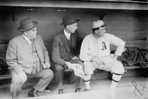 Connie Mack: Philadelphia A's manager is seen with coach Ira Thomas, right, in 1911.