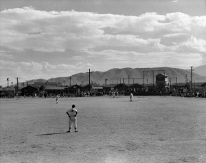 Manzanar grandstands: Photo taken by famed prewar photographer Toyo Miyatake.