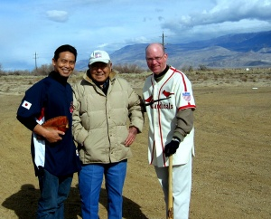 At Manzanar Baseball Field: From left: Kerry Yo Nakagawa of the Nisei Baseball Research Project; Pete Mitsui, founder of the San Fernando Aces Japnese-American semipro team; and Jeff Arnett, former director of education at the
