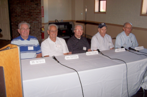 Peekskill players panel: Joe DeToia, Dan Dondero, George Passabet, Larry Cauvel, Fran Chesnick