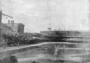 National League Park, 1902: The photo shows the edge of the grandstand and bleachers along the third base line where the collapse would take place in 1903.
