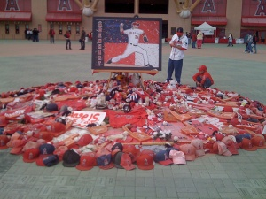 Nick Adenhart memorial: Fans left mementos at the ballpark's entry during the 2009 season following the pitcher's death in April.