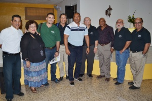 Chapter members with Juan Beniquez and Sandy Alomar Sr.