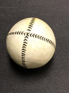 A vintage baseball used by the Tennessee Association of Vintage Base Ball