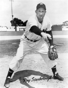 Ray Scarborough: holds the first modern assigned win in baseball history, April 18, 1950.