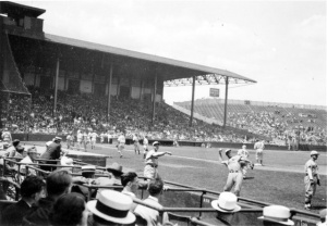 Braves Field: The original model envisioned the roof extending over both the left-field pavilion (shown) and the right-field pavilion.