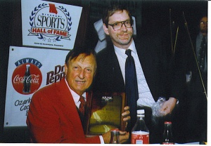 Stan Musial and SABR Bob Broeg Chapter President Mark Stangl, 1999