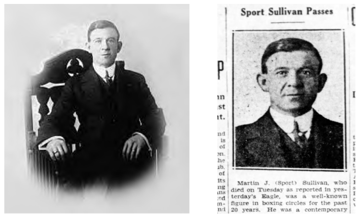 "This photo at left, from the Bain Collection at the Library of Congress, is correctly labeled as ""Sport Sullivan."" However, the person in the photo is a Brooklyn fight promoter named Martin J. Sullivan, not the 1919 World Series fixer from Boston."