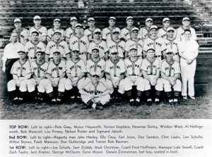 1945 St. Louis Browns: Pete Gray is the first player, row three.