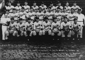 1945 Boston Braves: Joe Tracy is seated in the back row, second from left.