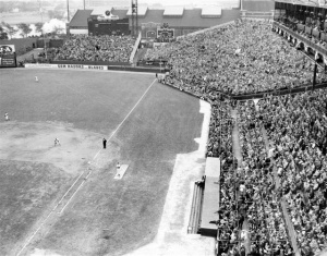 """The Jury Box"": The section of the stands in front of the right field scoreboard is shown at capacity. The name stuck after one wag counted 12 fans in a section of stands built to accommodate 2,000."