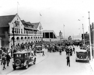 Braves Field: The ticket and administration building (shown at left) still stands and today serves as the headquarters for the Boston University police.