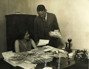 Margaret Donahue and Bill Veeck Sr.: Cubs executives go through stacks of ticket requests for the 1929 World Series at Wrigley Field. Veeck hired Donahue in 1919 as a stenographer and promoted her to corporate secretary in 1926.