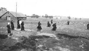 Ball playing nuns, c. 1931