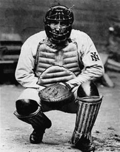 "Roger Bresnahan: On Opening Day at the Polo Grounds against the Phillies in 1907, future Hall of Famer became the first catcher to wear the full suit of armor, or ""tools of ignorance"" -- glove, mask, chest protector, and shin guards -- in a regular-season appearance."
