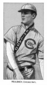 T206 set: Big Ed Reulbach, a right-hander who in 1905–9, his first five seasons in the big leagues, won 97 games for the Cubs.