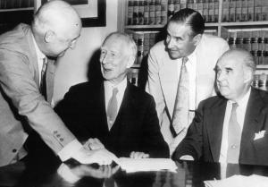 Roy and Earle Mack: took out a loan to buy the shares held by Connie Mack Jr., Katherine Mack and the Shibe family, ending the long struggle over control of the A's on August 28, 1950. The loan left the club heavily in debt.