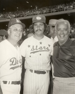 Tommy Lasorda, Rob Reiner and Rod Dedeaux