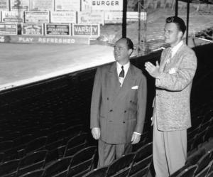 Earl Mann and Billy Graham: Atlanta Crackers owner stands with the famed evangelist in May 1950.